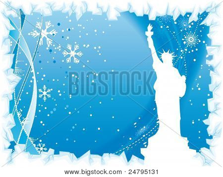 New York city winter blue background with black silhouette of the Statue of Liberty and ice border
