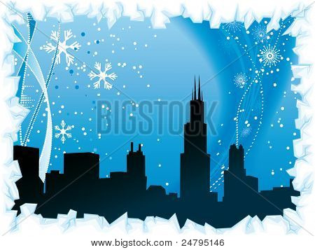 Chicago city winter background with ice border and black silhouette