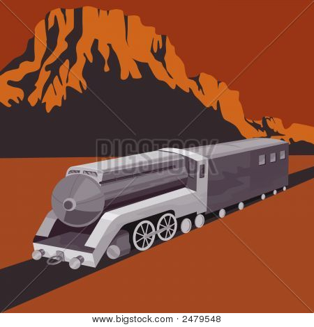 Vintage Steam Train With Canyon