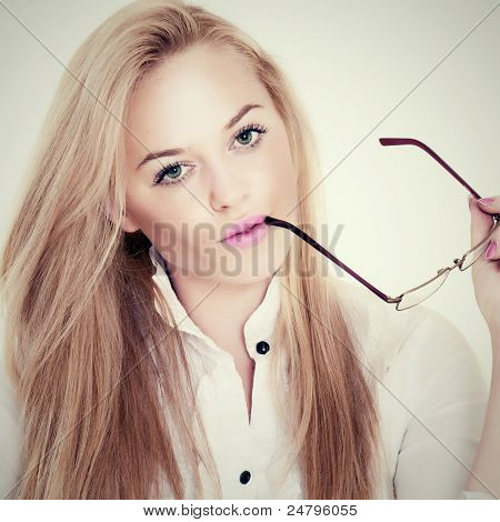 Beautiful Blonde With Glasses