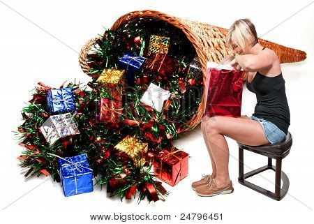 Beautiful Woman Holding Gift