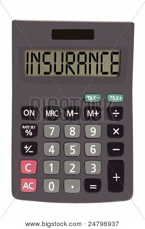 "Old Calculator On White Background Showing Text ""insurance"""
