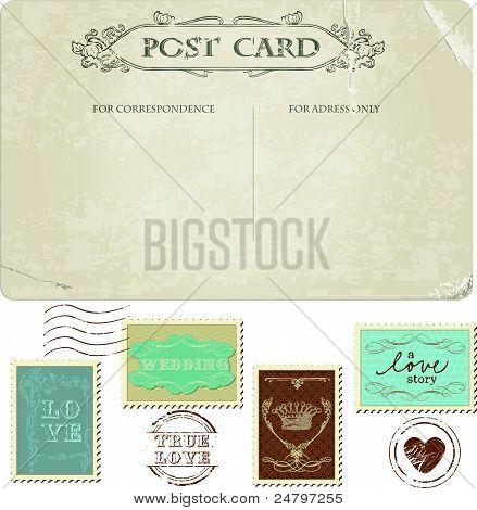 Alte Ansichtskarte und Briefmarken für Hochzeit Design, Einladung, herzlichen Glückwunsch, scrapbook