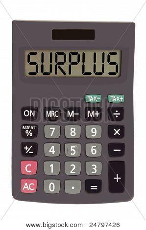 """Calculadora em branco fundo mostrando texto antigo """"excedente"""""""