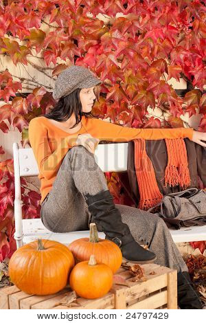 Autumn Park Bench Young Woman With Pumpkins