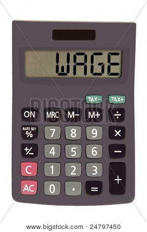 """Old Calculator On White Background Showing Text """"wage"""""""