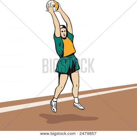 Netball Player Jumping To Catch Ball