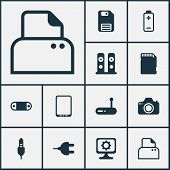 Hardware Icons Set With Modem, Tablet Phone, Sd Card And Other Cellphone Elements. Isolated Vector I poster