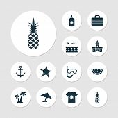 Summer Icons Set With Swimming Mask, Starfish, Sea And Other Ananas Elements. Isolated Vector Illust poster
