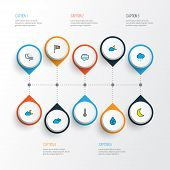 Climate Icons Colored Line Set With Degree, Lunar, Moonbeam And Other Hazy Elements. Isolated  Illus poster