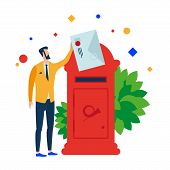 The Man Puts The Letter In The Mailbox. Vector Illustration. Separate Objects. Isolate. poster