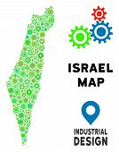 Gear Israel Map Collage Of Small Cogwheels. Abstract Geographic Scheme In Green Color Tones. Vector  poster
