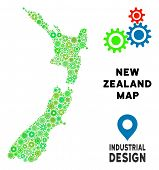 Gear New Zealand Map Collage Of Small Cogwheels. Abstract Territorial Plan In Green Color Tinges. Ve poster