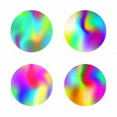Hologram Abstract Backgrounds Set. Minimal Gradient Backdrop With Hologram. 90s, 80s Retro Style. Ir poster
