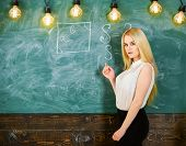 Woman With Nice Buttocks Teaching Mathematics. Sexy Teacher Concept. Lady Sexy Teacher With Long Hai poster