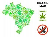 Royalty Free Marijuana Brazil Map Composition Of Weed Leaves. Concept For Narcotic Addiction Campaig poster