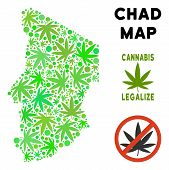 Royalty Free Cannabis Chad Map Mosaic Of Weed Leaves. Template For Narcotic Addiction Campaign Again poster