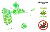 Royalty Free Marijuana Guadeloupe Map Mosaic Of Weed Leaves. Concept For Narcotic Addiction Campaign poster