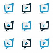 Weather Icons Colored Set With Cloudy Sky, Moon, Stormy And Other Cloudy Sky Elements. Isolated Vect poster