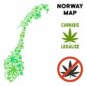 Royalty Free Marijuana Norway Map Composition Of Weed Leaves. Concept For Narcotic Addiction Campaig poster