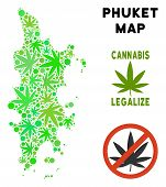Royalty Free Cannabis Phuket Map Composition Of Weed Leaves. Template For Narcotic Addiction Campaig poster