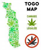 Royalty Free Marijuana Togo Map Composition Of Weed Leaves. Template For Narcotic Addiction Campaign poster