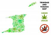 Royalty Free Cannabis Trinidad And Tobago Map Mosaic Of Weed Leaves. Template For Narcotic Addiction poster