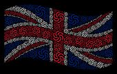 Waving Uk Flag On A Black Background. Vector Galaxy Elements Are Placed Into Conceptual Uk Flag Abst poster