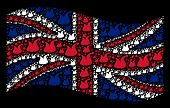 Waving Uk Flag On A Black Background. Vector Joker Hat Items Are United Into Mosaic Uk Flag Composit poster