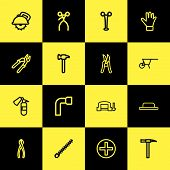 Set Of 16 Editable Equipment Icons Line Style. Includes Symbols Such As Hammer, Drill Nozzle, Rivets poster