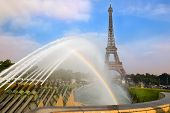 View With Rainbow Over The Eiffel Tower And Fountain Of Warsaw From Trocadero Gardens , Paris, Franc poster