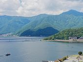 Scenery Of Lake Kawaguchi, The Biggest Lake Of Fuji Five Lakes, With A Ferry Boat And An Overwater B poster