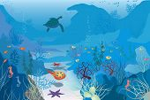 image of sea life  - Illustration of blue lagun with swimming sea turtle - JPG