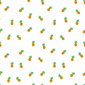Tropical Ananas Pineapple Fruit Seamless Pattern On White Background. Vector Illustration For Textil poster