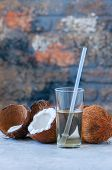 Coconut Water, Whole Coconuts On A White Background. Coconut Products Concept. poster