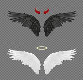 Set Of Angel And Devil Realistic Wings, Horns And Halo Isolated On Transparent Background poster