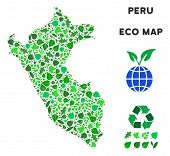 Ecology Peru Map Composition Of Floral Leaves In Green Color Hues. Ecological Environment Vector Tem poster