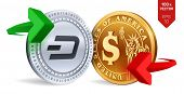 Dash To Dollar Currency Exchange. Dash. Dollar Coin. Cryptocurrency. Golden And Silver Coins With Da poster