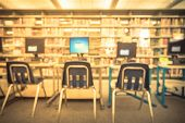 Vintage Burred Kid Computer Station Area At Public Library In Usa poster