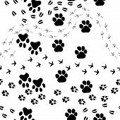 stock photo of paw-print  - Animal footprint seamless vector pattern - JPG