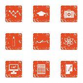 Physical Engineering Icons Set. Grunge Set Of 9 Physical Engineering Vector Icons For Web Isolated O poster
