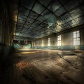 stock photo of abandoned house  - abandoned gym with cyrellic letters on the walls hdr processing - JPG