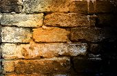 Wall Brick Seam Distressed Retro Concrete Masonry Crack Street House Building Texture Color Light poster