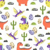 Dinosaur Seamless Pattern, Dinosaurs And Cacti Egg With Offspring, Rock And Grass, Types Of Creature poster