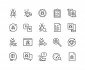 Simple Set Of Quality Assurance Related Vector Line Icons. Contains Such Icons As Ui Testing, Bug Re poster