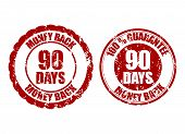 Money Back Guarantee 90 Days Rubber Stamp Inprint. Vector Ninety Stamp Guarantee Illustration poster