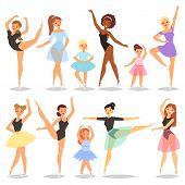 Ballet Dancer Vector Ballerina Character Dancing In Ballet-skirt Tutu Illustration Set Of Classical  poster