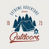 Adventure Typography Graphic For T-shirt. Outdoors T Shirt Print With Camping Tent, Forest And Bonfi poster