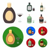 Liquor Chocolate, Champagne, Absinthe, Herbal Liqueur.alcohol Set Collection Icons In Cartoon, Flat  poster