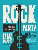 Vector Poster Or Banner For Rock Party With Live Music With An Electric Guitar And Place For Text. R poster